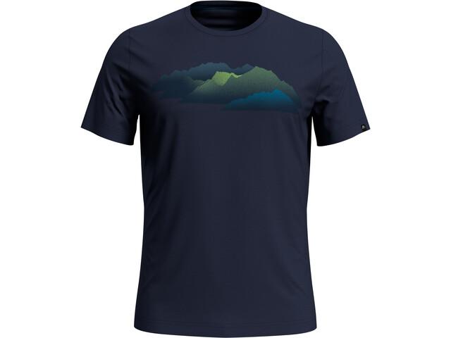 Odlo Nikko Print T-shirt Col ras-du-cou Homme, diving navy/mountain